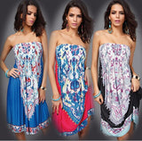 Bohocotol Hot Sale Design Sexy Sundress Women Floral Pattern Printed Vintage Summer Dress Bohemian Paisley Totem Beach Dress