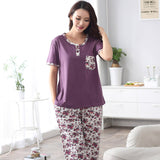 Fashion 2017 Summer Cotton Women Pajamas Set Small Floral Sleepwear For Women Short Sleeve Plus Size 4XL Casual Tracksuit