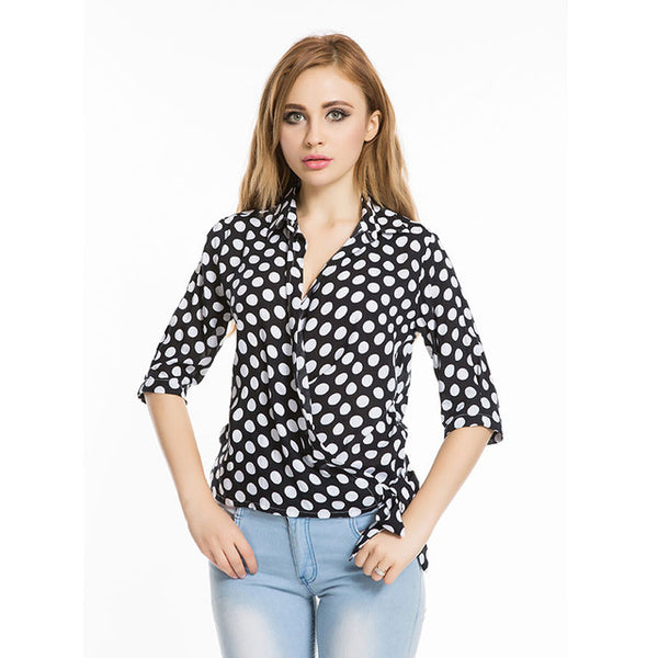 Dioufond Women Polka Dot Summer Blouse Camicia Donna Half Sleeve Blusas Side Knot Tie Womens Tops Casual 2017 Camisas Mujer