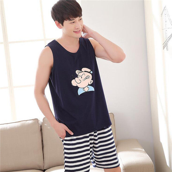 2017 New Summer Sleepwear men Pajama Couple Knitted Cotton Suit Nightwear Causal Lounge AP412 Free Shipping
