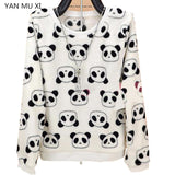 New brand YAN MU XI Cute panda harajuku Hoodie sweatshirt for Women 2017 winter high quality Flannel Sweatshirts