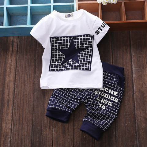 Baby boy clothes 2017summer children's clothing sets T-shirt+pants suit clothing set Star Print Clothing newborn tracksuit SY118