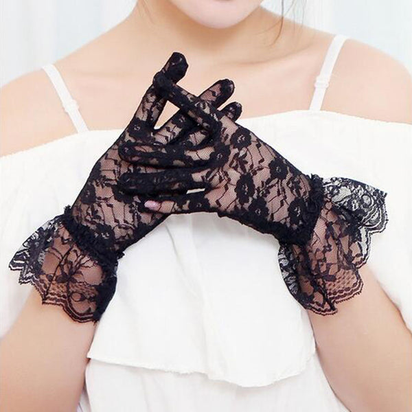 2016 New Elegant Style Sun Protection Accessories Lace Hollow-Out Gloves Delicate Lace Jacquard Pattern Lace Gloves