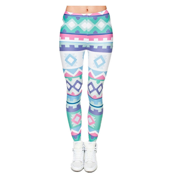 ZSIIBO Fashion Women Leggings Tropical Leaves Printing Blue Fitness Legging Sexy Silm Legins High Waist Stretch Trouser Pants