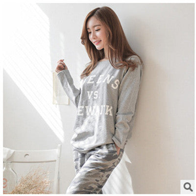 2017 New Autumn Winter Tracksuit For Women Long Sleeve Letter Printed Pajamas Set Cotton pyjamas women Camouflage pijamas Q0152