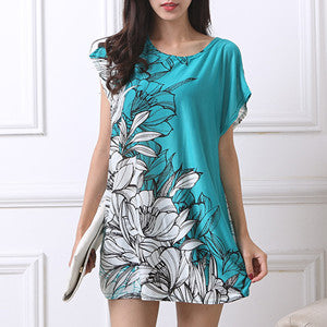 2017 new T Shirt Dress Plus Size Women Printing Long T shirt short sleeve Loose Casual  Sweet Tops tunic  flower