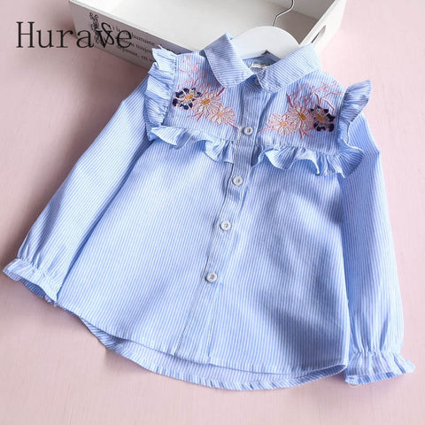 Hurave Summer Blouses Girls brand Shirts Lace Kids Embroidery blouses Children Clothes Toddler Clothing For Blouse