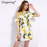 Singwing Fashion Women Off shoulder Lemon Print Dress Above Knee Mini O-neck Dress Summer Women's Dresses