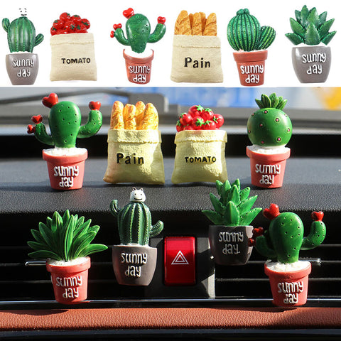 1 Piece 3D Air Freshener Solid Cartoon Plants vegetables Car Styling Air Conditioning Vent Movable Flavoring Cute Car parfums