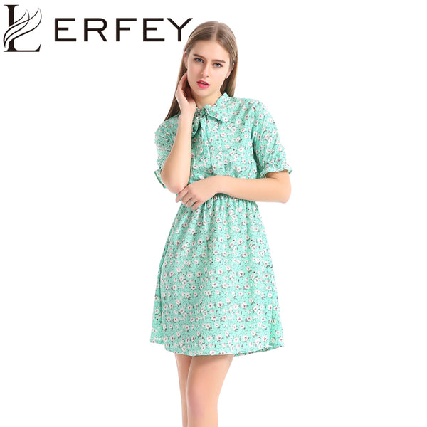 LERFEY Summer Dress Women Short Sleeve Floral Print Casual Green Dresses Mini Loose Bow Chiffon Dress Women Clothing
