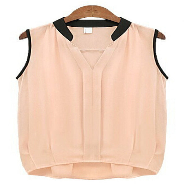 V-Neck Women's Blouses Femme Classic Women Loose Casual Blouse OL Sleeveless Ladies Blusa Feminina Tank Tops For Woman