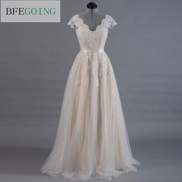 Vestido de novia Lace A-line Wedding dress Cap sleeve  V-back Bridal gown Lace with Tulle