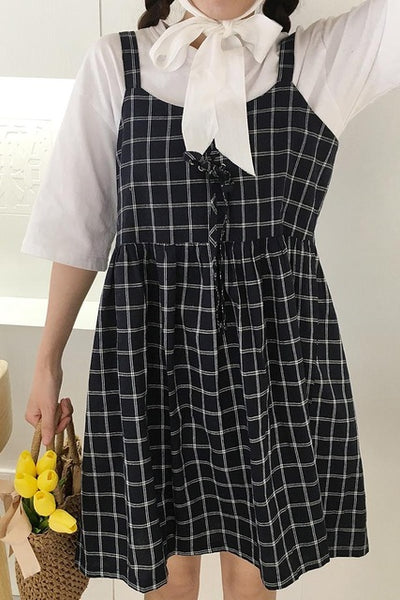 2017 Summer Preppy Style Cute Loose Casual Plaid Simple All Match Female Tank Dresses