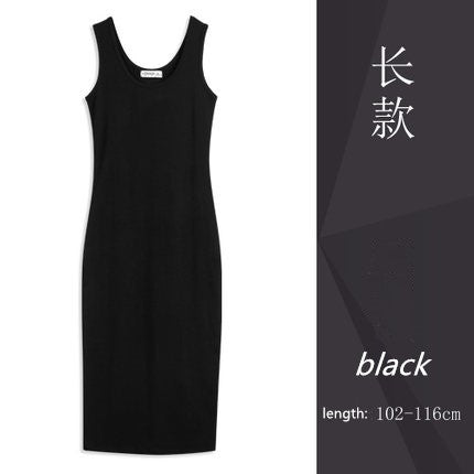 New Arrive Vest Full Dress Slim Medium-long Basic Dress Female Plus Size Solid Pullover Dress