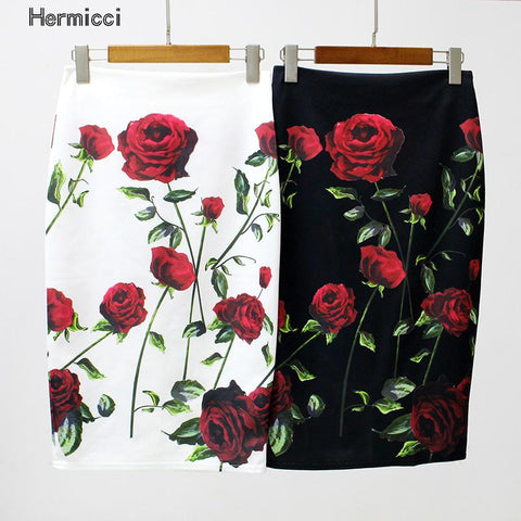 Hermicci Women Pencil Skirt High Waist Big Flower Bodycon Midi Skirt Ladies Digital Print White Black Slim Hip Skirt