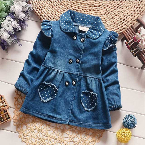 fashion spring autumn kid's children baby infants girls jacket outwear denim jeans dot Polka heart princess Roupas coat  S4530