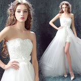 100% Real Photo Lace Wedding Dress Beach Bridal Gowns Removable Train 2017 Stock Cheap Short Front Long Back Wedding Dresses