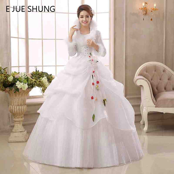 E JUE SHUNG White Organza Long Sleeves Cheap Wedding Dresses 2017 Winter Warm Wedding Gowns Muslim Bridal Dress