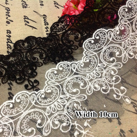 5Yards/Lot Fabric Lace Black White Sweet Cordate Lace Trim  DIY Craft Materials  Clothing Accessories Lace Embroidery RS80