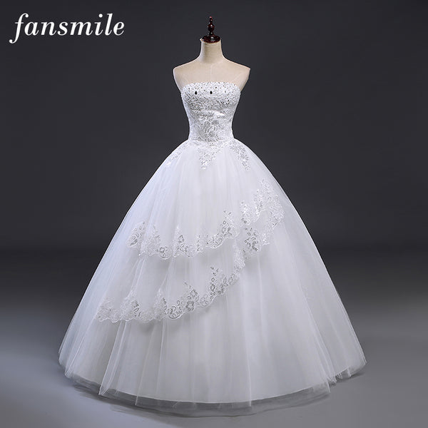 Fansmile Crystal Beads Bridal Ball Gowns Lace Up Wedding Dresses 2017 Customized Plus Size Vintage Robe de Mariee Free Shipping