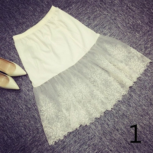 6fe9650be99 Women Lady Lace Slip Skirt Extender Knee Length A-Line Floral Underskirt  Petticoat Fashion New White Black 904-733