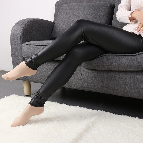 1 Pcs Fashion Women Waist Black Faux Leather Stretch Skinny Pants Sexy Lady Girls Slim Leggings