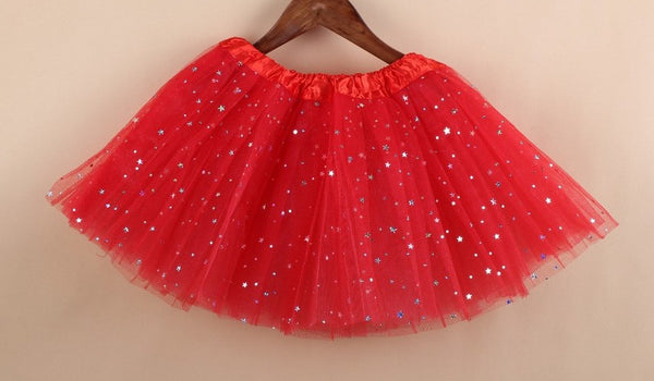 girl star glitter dance red  tutu skirt sequin with 3 layers tulle tutu toddler girl chiffon pettiskrit