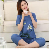 Summer Pajamas Plus Size XL XXL 3XL 4XL Casual Women Pajama Set Cotton Pijamas Suit Ladies Sleepwear Pyjamas Home Clothes Q120