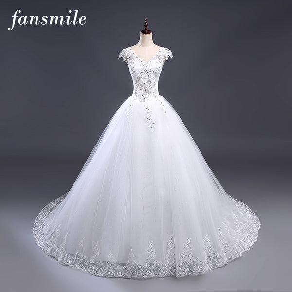 Fansmile Cheap Free Shipping Plus Size Lace Train Ball Wedding Dress 2017 Vintage Gown Vestidos Noiva Robe de Mariee Under $100