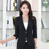 Fashion elegant autumn slim work wear women formal half sleeve sky blue blazers coats female office plus size jacket