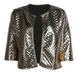 2017 Brand New Autumn Winter Blazer Women Gold Sequins Jackets Fashion Three Quarter Sleeve Jacket Coats Outwears Blazers Mujer