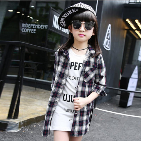 Kids Han edition shirt long sleevesn children fall 2016 fashion leisure grid shirt  for big girls long turn-down collar blouses