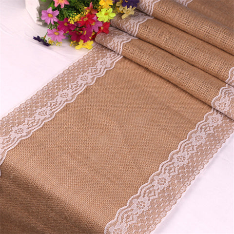 30X275cm New Vintage White Christmas Lace Jute Table Runner Linen Hessian Burlap Country Event Party Supplies Wedding Decoration