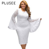 PLUSEE Women High Quality Knee Length Lace Dress Fashion Flare Sleeve Bodycon Pencil Dress Vestido De Festa White Black 4XL
