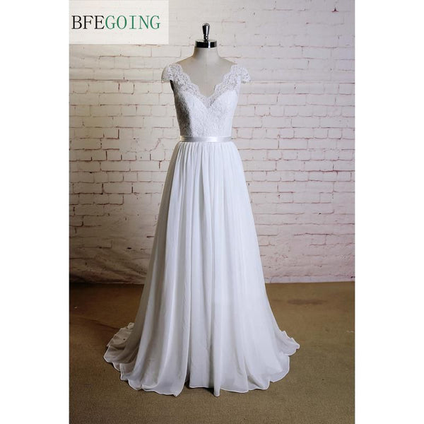 White  Lace Tulle  Floor-Length  V-Neck A-line Wedding Dress Court Train  Cap Sleeves Real/Original Photos Custom made