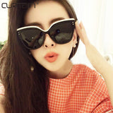 2017 high quality retro cat glasses sunglasses lady oversized lady brand sunglasses rivets mirror sunglasses Ocolos de sol