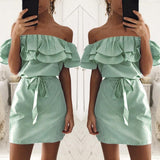Gamiss Women Off the Shoulder Striped Layered Ruffle Tie Waist Mini Dress Summer 4 Colors Backless Casual Shift Streetwear