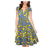 Oxiuly 50s Vestidos Womens Dress Audrey Hepburn Formal V Neck Casual Office Wear Working Bodycon Knee Length A-line Dresses