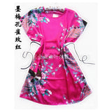 Hot Sale Fashion hot pink Peacock Chinese Women's Silk Rayon Robe Bath Gown pajamas One Size Flower Free Shipping