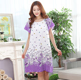 Fdfklak Fashion New Nightgowns For Women Long Cartoon Girls Nightwear Nightdress Cotton And Silk Sleepshirt Summer Dress E0789