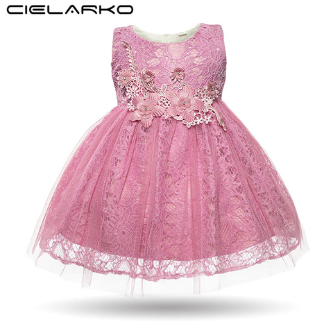 162886d9f Cielarko Baby Girl Dress Lace Princess Party Christening Gowns White Infant  Flower Dresses Toddler Wedding Clothing ...