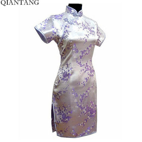 Light Purple Traditional Chinese Clothing Women's Satin Mini Cheongsam Qipao Dress Vestido Size S M L XXL XXXL 4XL 5XL 6XL J4036