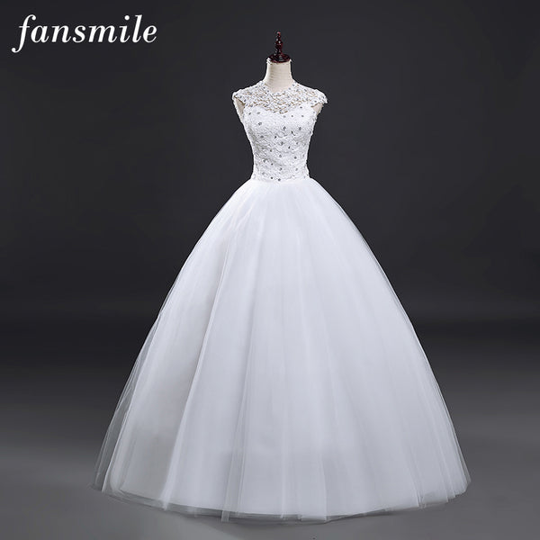 Fansmile Real Photo Cheap Short Sleeve Ball Wedding Dresses 2016 Lace Vintage Plus Size Bridal Gown Vestido de Noiva FSM-038F