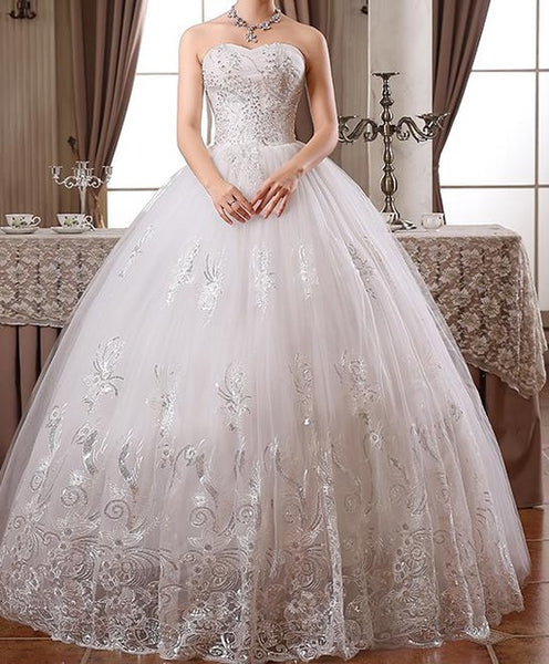 Wedding Dresses 2017 New Fashion Princess Style Luxury Lace Embroidery Floor-length Diamond Vintage Bridal Gown