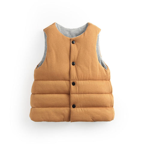 Autumn Winter 2016 Korean Children Cotton Vests Baby Boys Girls Clothes Double-Sides Wear Vest Kids Waistcoat Christmas Gift