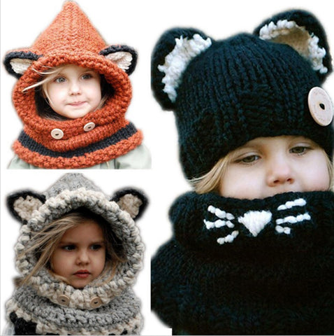 New Arrival!!! Baby Hats & Caps Cat Ear Fox Shaped Kids Bomber Hats Shawl Winter Children Hats Handmade Knitted Baby Accessories