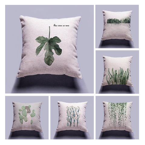 Cushion Cover Tropical Plants Leaves Cotton Linen Colorful Decorative Pillow Case Chair Square Waist and Seat 45x45cm