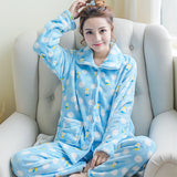 women flannel thick pajamas coral velvet home service long sleeved autumn and winter size winter warm suit lovely pyjamas women