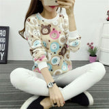 Women Knit Sweatshirts 2017 Stars Print Harajuku Jumper Micro Stretch Spring Winter Pull Femme Sexy Bottoming Knitted Hoodies