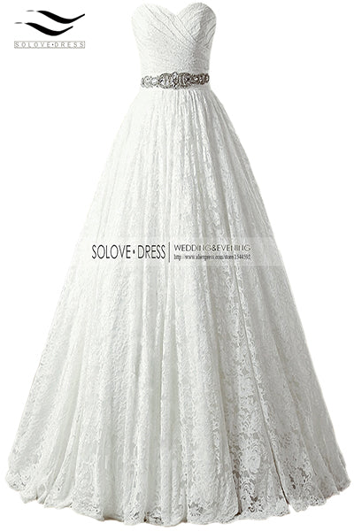 2017 A-line Sweetheart Plus Size Real Photo Lace Princess Wedding Dresses Ball Gown Sashes China vernassa Bridal Gown SLD-W666